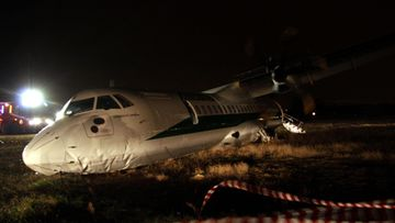 A ATR-72 turboprop plane of Romania s Carpatair airline (operating for Alitalia) went off the runway upon landing at Rome s Leonardo da Vinci airport Italy 02 February 2013. According to media reports six passengers were injured in the inciden