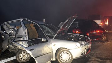 According to police reports, between 40 and 50 vehicles were involved in a multiple crash on A5 motorway near Teningen, Germany on 01 January 2010