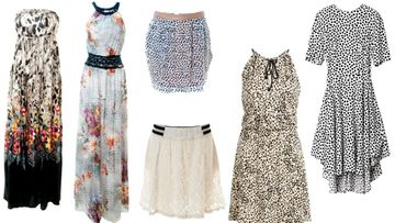 Kopioi mekkotyyli! Mekot oikealta vasemmalle: Liu Jo Jeans, Liu Jo Jeans, ylempi mekko Supertrash, alempi mekko Nümph, KappAhl, H&M