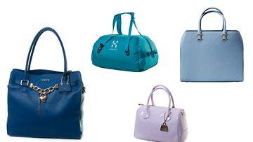 Kopioi tyyli! Laukut: Iso sininen Liu jo Jeans, turkoosi putkikassi Haglöfs, pastellisininen H&M, lila Liu Jo Jeans