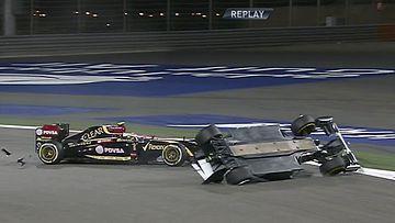 Pastor Maldonado törmäsi Esteban Gutierreziin Bahrainissa.