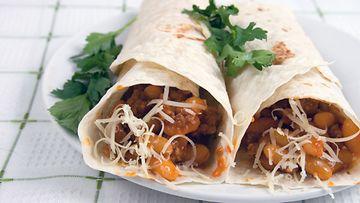 Klassinen burrito tuo veden kielelle.