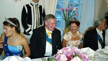20030827 - HELSINKI - SWEDISH ROYAL STATE VISIT TO FINLAND: Crown Princess Victoria during a gala dinner at the Swedish embassy in Helsinki. At right Speaker of the Finnish Parliament Paavo Lipponen, Queen Silvia and Mr. Pentti Arajärvi.