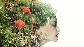 Nainen kasvihiuksissa