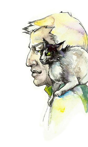 Maalaus: mies ja kissa