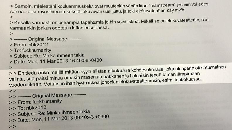 sähköpostiviestit yliopistoisku ote 1