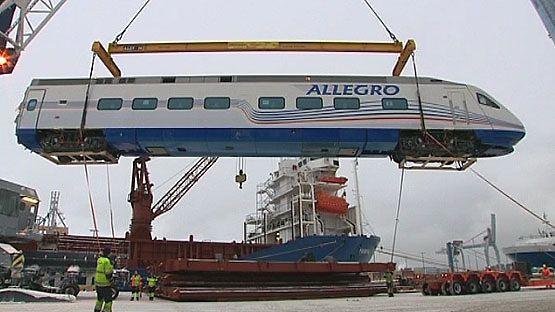Helsinkiin saapui laivalastillinen VR:n uusia Pendolino Allegro -junia 15.1.2010. Junien on tarkoitus kulkea Helsingin ja Pietarin välillä.