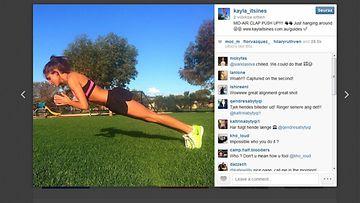 Kuvakaappaus Kayla Itsinesin Instagram-tililtä