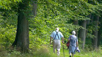 Mies ja nainen kävelyllä metsässä