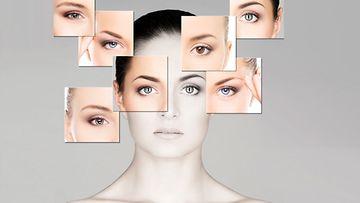 Nainen ja monta erilaista silmää