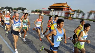 Janne Holmen of Finland running Maraton during the Olympic Games in Beijing, China, on August 24th, 2008. Lehtikuva.
