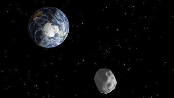 Lähimmillään 2012 DA14-niminen asteroidi käy vain 27 700 kilometrin päässä Maan pinnasta 15.2.2013.