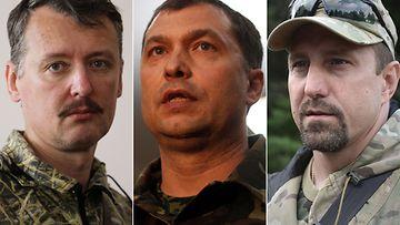 """Ukrainan kapinallisjohtajia vasemmalta lukien: Igor """"Strelkov"""" Girkin, Valeri Bolotov ja Aleksander Khodakovski."""