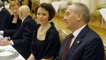Jenni Haukio, wife of Finland's next President Sauli Ninistö chats with Latvia's President Andris Berzis during the dinner of Finland's President Tarja Halonen to her European counterparts and their spouses from Austria, Germany, Hungary, Italy, Latvia, Portugal and Slovenia during the European President meeting in Helsinki, Finland on Friday, 10th Feb., 2012. In background Tarja Halonen and Italy's President Giorgio Napolitano.