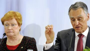 Finnish President Tarja Halonen (L) and President Anibal Cavaco Silva of Portugal attend a joint Press Conference in Helsinki, Finland on February 11, 2012. President Halonen is hosting a meeting of eight presidents in Helsinki on 10-11 February.