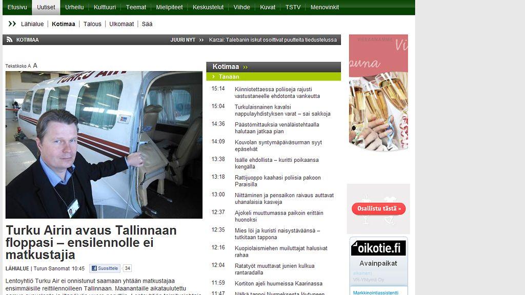 TS: Turku Airin ensilento ei kiinnostanut - Kotimaa - Uutiset - MTV.fi