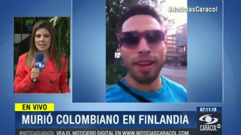 Helsinkiläisessä putkassa kuolleen kolumbialaisen kohtalosta kohu Kolumbiassa. Kuvakaappaus Noticias Caracol -sivustolta