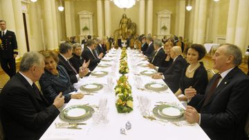 Finnish President Tarja Halonen and her European counterparts and their spouses from Austria, Germany, Hungary, Italy, Latvia, Portugal and Slovenia during their dinner of the European President meeting in Helsinki, Finland on Friday, 10th Feb., 2012.