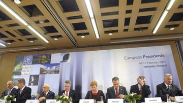 Finnish President Tarja Halonen (C) hosts a joint Press Conference of the Presidents in Helsinki, Finland on February 11, 2012 President Halonen is hosting a meeting of the Presidents of Andris Berzis (L) of Latvia, Christian Wulff of Germany, Giorgio Napolitano of Italy, Heinz Fischer of Austria, host Tarja Halonen of Finland, Anibal Cavaco Silva of Portugal, Danilo Turk of Slovenia and Pal Schmitt (R) of Hungary.