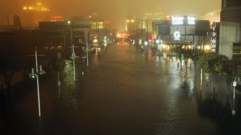 ATLANTIC CITY, NJ - OCTOBER 29: A flooded street is seen at nightfall during rains from Hurricane Sandy on October 29, 2012 in Atlantic City, New Jersey. Sandy made landfall over Southern New Jersey today. (Photo by Mario Tama/Getty Images) ATLANTIC CITY, NJ - OCTOBER 29: A flooded street is seen at nightfall during rains from Hurricane Sandy on October 29, 2012 in Atlantic City, New Jersey. Sandy made landfall over Southern New Jersey today. (Photo by Mario Tama/Getty Images)
