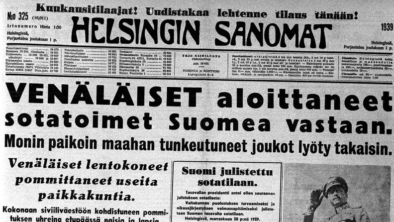 """Helsingin Sanomien etusivu 1. joulukuuta 1939, """"Venäläiset aloittaneet sotatoimet Suomea vastaan""""."""