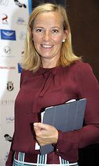 Sanna Lauslahti Lasten Oikeuksien Gaalan tiedotustilaisuudessa 5. syyskuuta 2012. Gaala järjestetään marraskuussa.