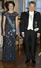 Finland's President Sauli Niinistö and his spouse Jenni Haukio at the gala dinner hosted by royal couple at the Royal Castle in Stockholm, 17th of April 2012.