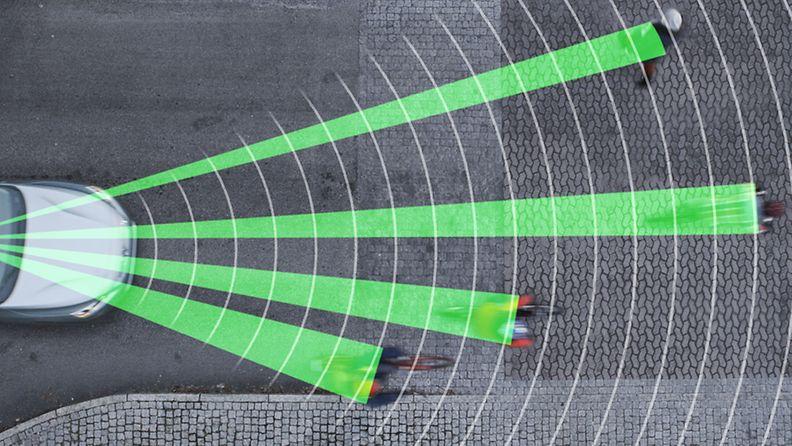 Volvon pyöräilijöitä tarkkaileva automaattinen jarrujärjestelmä.