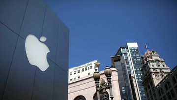 Yhtiön logo Apple-kaupassa San Franciscossa Yhdysvalloissa.