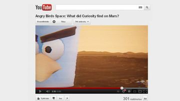 Angry Birds Space Red Planet. Kuvakaappaus YouTubesta.