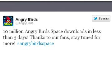 Angry Birds Space -twitterviesti 2012.