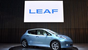 Nissan's new electric car 'Leaf' during its unveiling at the company new headquarters in Yokohama, near Tokyo, Japan.