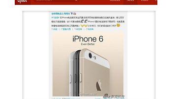Väitetty iPhone 6 vuotokuva. Kuvakaappaus Cnet-sivustolta.