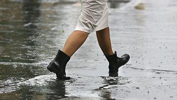 sadesää, kengät