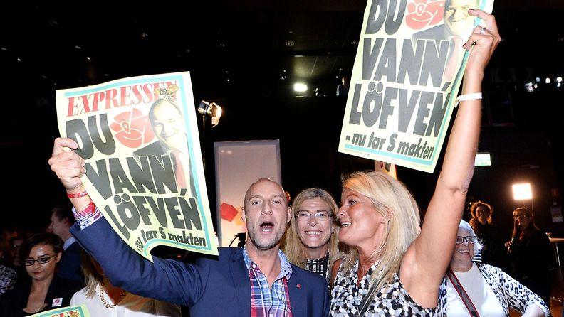 Sosiaalidemokraattien kannattajia Ruotsin parlamenttivaalit 2014