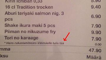 Hansin ravintolakuitti