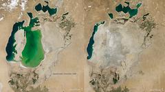 NASA julkaisi pysäyttävät kuvat - Araljärvi kuihtunut lähes olemattomaksi