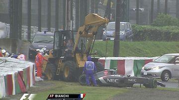 Adrian Sutil ja Jules Bianchi ajoivat ulos samassa paikassa
