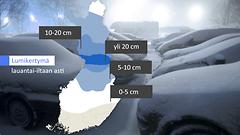 Lumimyräkkä maan keski- ja pohjoisosaan – lunta jopa 20 senttimetriä