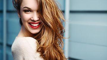 nainen, ilo, huulipuna