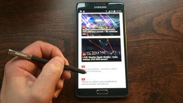 MTV Uutiset -sovellus Samsung Galaxy Note 4 -tabletilla