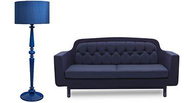 sininen kollaasi sohva