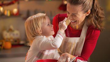 joulu, leivonta, äiti, lapsi