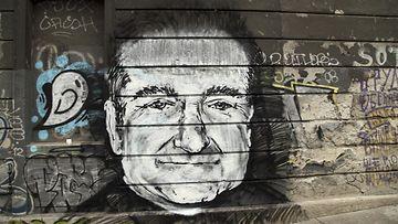 Robin Williamsin muistolle tehty maalaus