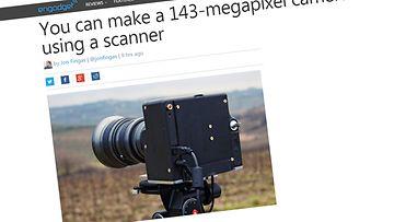 Kotitekoinen kamera, jossa on käytetty skannerin osia. Kuvakaappaus Engadgetin sivuilta.