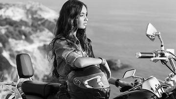 sinkku, nainen, yksin, moottoripyörä