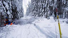 Märkä lumi katkoi sähköjä