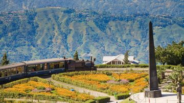 Steam train known as the Toy Train of the Darjeeling Himalayan Railway listed as a World Heritage Site,