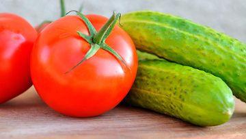 tomaatti, kurkku