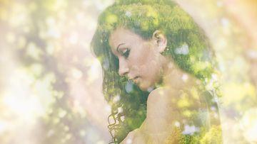 Nainen ja kukkia, tuplavalotus